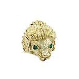 Estate Emerald & Ruby 14k Yellow Gold Textured Large Lion Head Ring Size 8