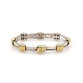 Tiffany & Co. Vintage ATLAS Sterling 18k Yellow Gold Grooved Link Bracelet