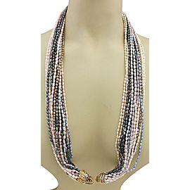 "Estate Diamond & Gems 14k YGold Dragon Multistrand Colored Pearl Necklace 33"" L"