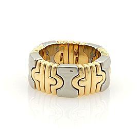 Bvlgari Bulgari Parentesi 8mm Flex Open Band Ring 18k Gold Steel Size 5