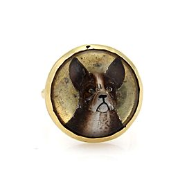 Vintage 18k Yellow Gold 3D Boxer Dog Resin Enamel Ring Size - 7.5