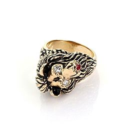 Estate Diamond & Ruby 14k Yellow Gold Lion Head Ring Size - 6.5