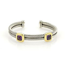 David Yurman 925 Silver 18k Yellow Gold Amethyst Double Band Cuff Bracelet