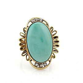 Estate Diamond Turquoise 14k Yellow Gold Large Oval Shape Ring Size - 7