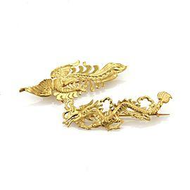 Estate 24k & 22K Gold Set of 2 Dragon & Pheonix Brooch Pin