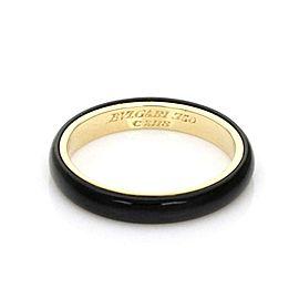 Bvlgari Bulgari Vintage 18k Yellow Gold Onyx 3mm Band Ring Size 5.75