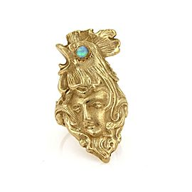 Art Nouveau Opal 14k Yellow Gold Carved Woman Face Ring Size 7
