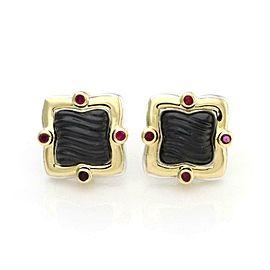 David Yurman Ruby Onyx 925 Silver 18k Yellow Gold Quatrefoil Stud Earrings