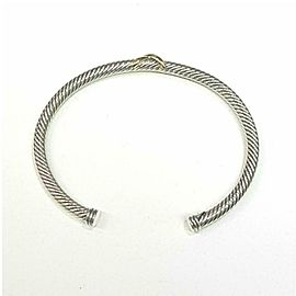 David Yurman Sterling Silver 14k Yellow Gold X Design Cable Cuff Bracelet