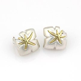 Tiffany & Co. 1991 Ivy Sterling 18k Yellow Gold Starfish Leaf Post Clip Earrings