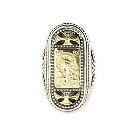 onstantino Holy Mother & Child 925 Silver 18k Gold Long Top Ring Size 6