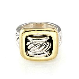 David Yurman Sterling Silver 18k Yellow Gold Buckle Style Cable Ring Size 6