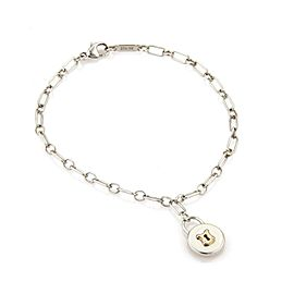 Tiffany & Co. 925 Silver 18k Rose Gold Padlock Charm Chain Bracelet