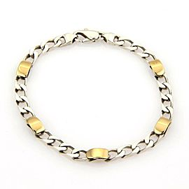 57592 Tiffany & Co. 18k Gold Sterling Silver 5mm Wide Curb Link Chain Bracelet