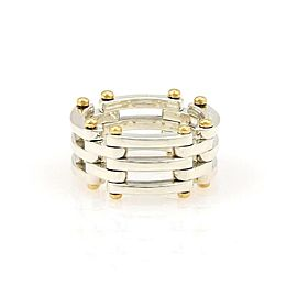 Tiffany & Co. GATELINK Sterling 18k Yellow Gold Flex Band Ring Size 6.25