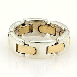 Tiffany & Co. Sterling 18k Yellow Gold 7mm Wide Flex Band Ring Size 6