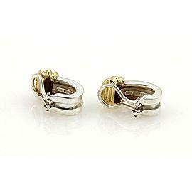 Tiffany & Co. ATLAS 1995 Sterling 18k Yellow Gold Grooved Clip On Earrings