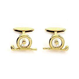 Chopard Happy Diamond 18k Yellow Gold Golf Club Stud Cufflinks