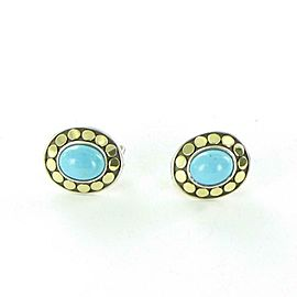 John Hardy Dot Gold Button Earrings 9x7mm Turquoise Sterling 18K EZS390111TQ