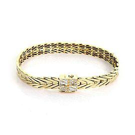 John Hardy Bamboo Collection Diamond 18k Gold Loop Link Bracelet