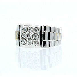 Fine Estate 14k White Gold .63ct Diamond Men's Ring Size 6.5
