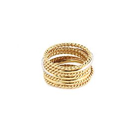 David Yurman Diamond 18k Two Tone Gold 7 Row Wire Stack Band Ring Size 5.5