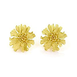 Tiffany & Co. 18k Yellow Gold Alpine Rose Flower Post Clip Earrings