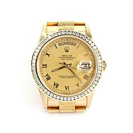 Rolex Oyster President 18k YGold Diamond Day Date Men's Automatic Watch