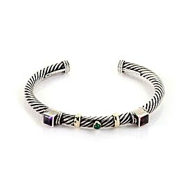 David Yurman Amethyst Green Onyx Sterling 14k Yellow Gold Cable Cuff Bangle