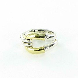 John Hardy Bamboo Ring 14mm Wide 18K Gold Link Sterling Silver RZ5989x7 Size 7