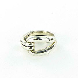 John Hardy Bamboo Ring 14mm Wide Link Sterling Silver RB5989x7 Size 7