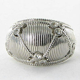 Judith Ripka Gothic Dome Ring 925 Silver White Sapphires Sz 7