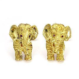 18k Yellow Gold Ruby 3D Elephant Stud Cufflinks