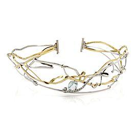 Vintage 4.25ct Aquamarine Diamond 18k Two Tone Gold Twisted Wire Tiara/Necklace
