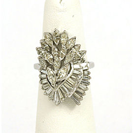 3.00ct Diamond 14k White Gold Cascade Cluster Ring Size 5.25