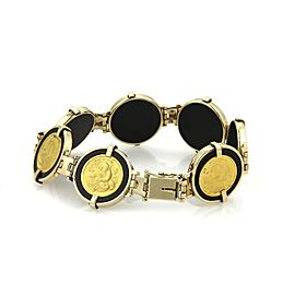 Vintage 24k Gold Panda Coin Onyx & 14k Round Link Bracelet