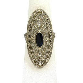 Art Deco 2.20ct Diamond & Sapphire 18k Yellow Gold Oval Filigree Long Ring