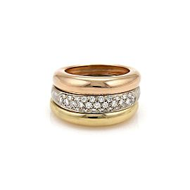 Cartier Diamond 18k Tricolor Gold Triple Stack Dome Band Ring Size 50-US 5.5