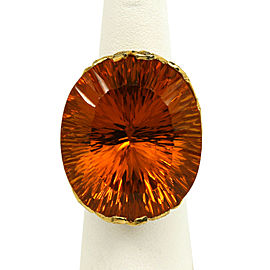 1.60ct Diamond Large Orange Oval Gemstone 18k Yellow Gold Cocktail Ring