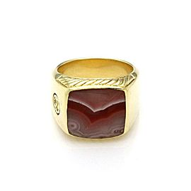 David Yurman Men's Agate 18k Yellow Gold Large Square Top Ring Size 10