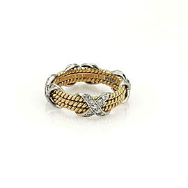 Tiffany & Co Schlumberger Diamond Platinum 18k 3 Row X Band Ring Size 5