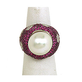 4.65ct Diamonds Pink Sapphire & South Seas Pearl 18k Gold Floral Design Ring