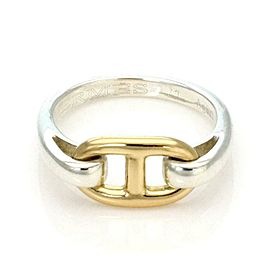 Hermes Sterling Silver 18k Yellow Gold H Band Ring Size - 4