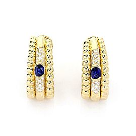 Piaget 1.30ct Diamond & Sapphire 18k Gold Triple Row Post Clip Earrings