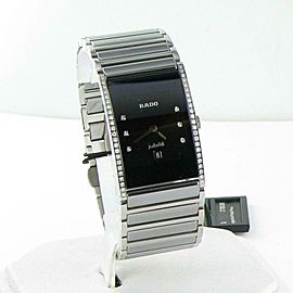 Rado R20758752 Integral Diamond Bezel Black Dial Ceramic Platinum Ladies Watch