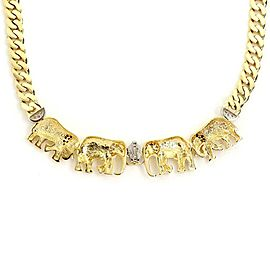 18k Two Tone Gold Diamond 4 Elephant Pendant Curb Link Necklace