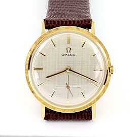 Omega Vintage 18k Gold Hand Wind Men's Wrist Watch Leather Band