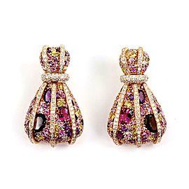 Estate 15 Carats Multicolor Gems & Diamond 18k Rose Gold Fancy Earrings