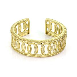 Judith Ripka Diamond 18k Yellow Gold Fancy Open Design Cuff Bracelet