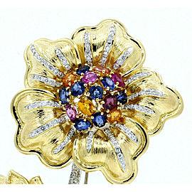 David Webb 18K Yellow Gold Diamond Gemstone Large Flower Brooch Pin